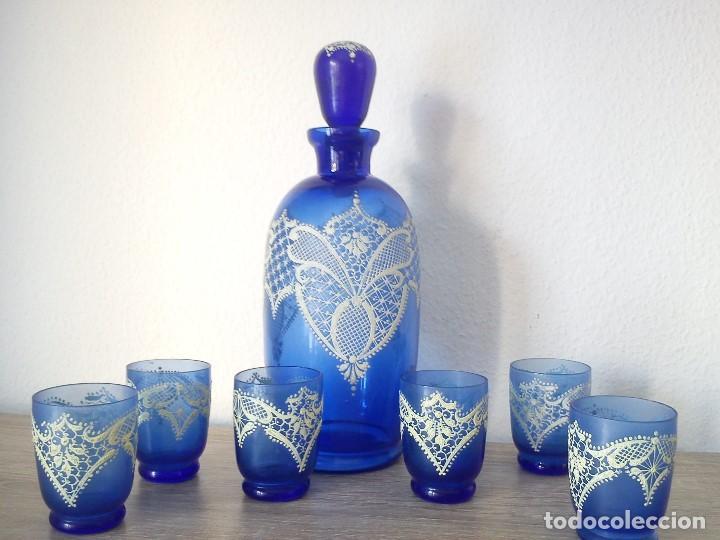 EXPLENDIDO Y ANTIGUIO JUEGO MORANO PINTADO A MANO PINTURA EN RELIEVO TIPO RENDAS (Antigüedades - Cristal y Vidrio - Murano)