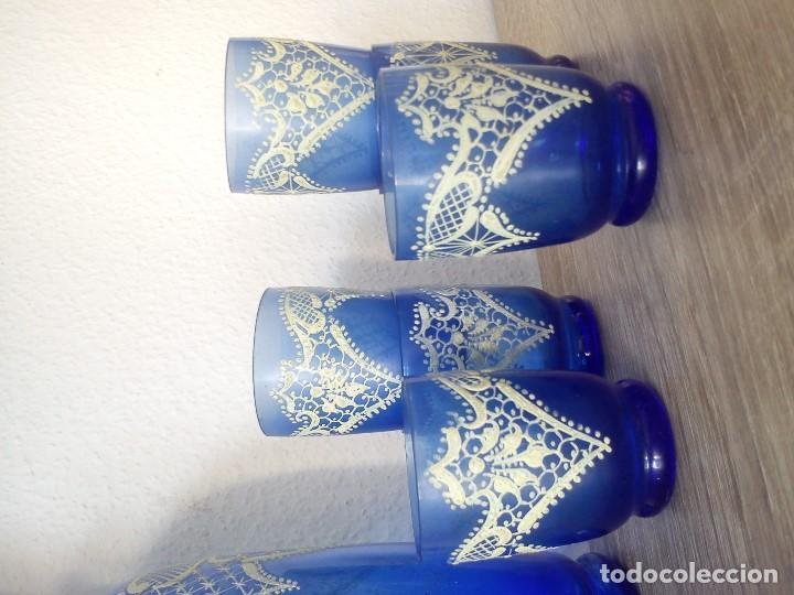Antigüedades: EXPLENDIDO Y ANTIGUIO JUEGO MORANO PINTADO A MANO PINTURA EN RELIEVO TIPO RENDAS - Foto 9 - 109009047