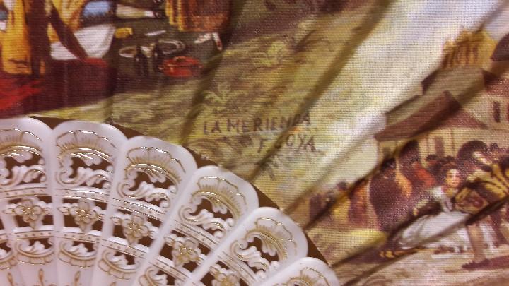 Antigüedades: BONITO ABANICO CON ESCENAS DE GOYA / PERFECTO ESTADO / VARILLAS BLANCAS Y DORADAS. VENTIMILLA. - Foto 3 - 109030211