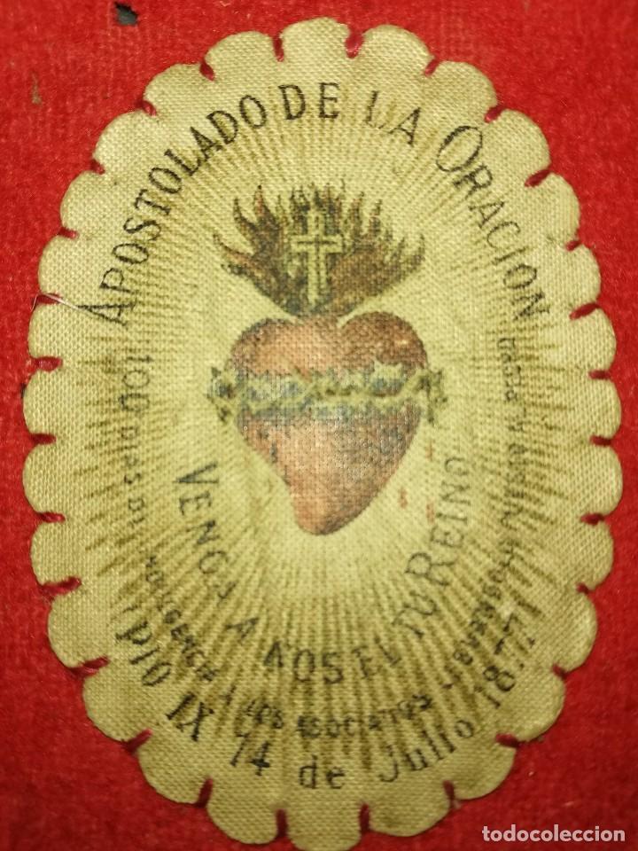 ANTIGUO ESCAPULARIO - AÑO 1877 (Antigüedades - Religiosas - Escapularios Antiguos)