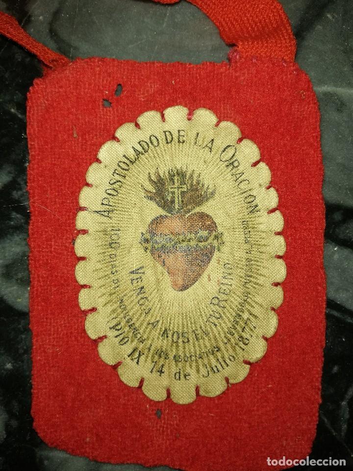 Antigüedades: Antiguo escapulario - año 1877 - Foto 2 - 109034843