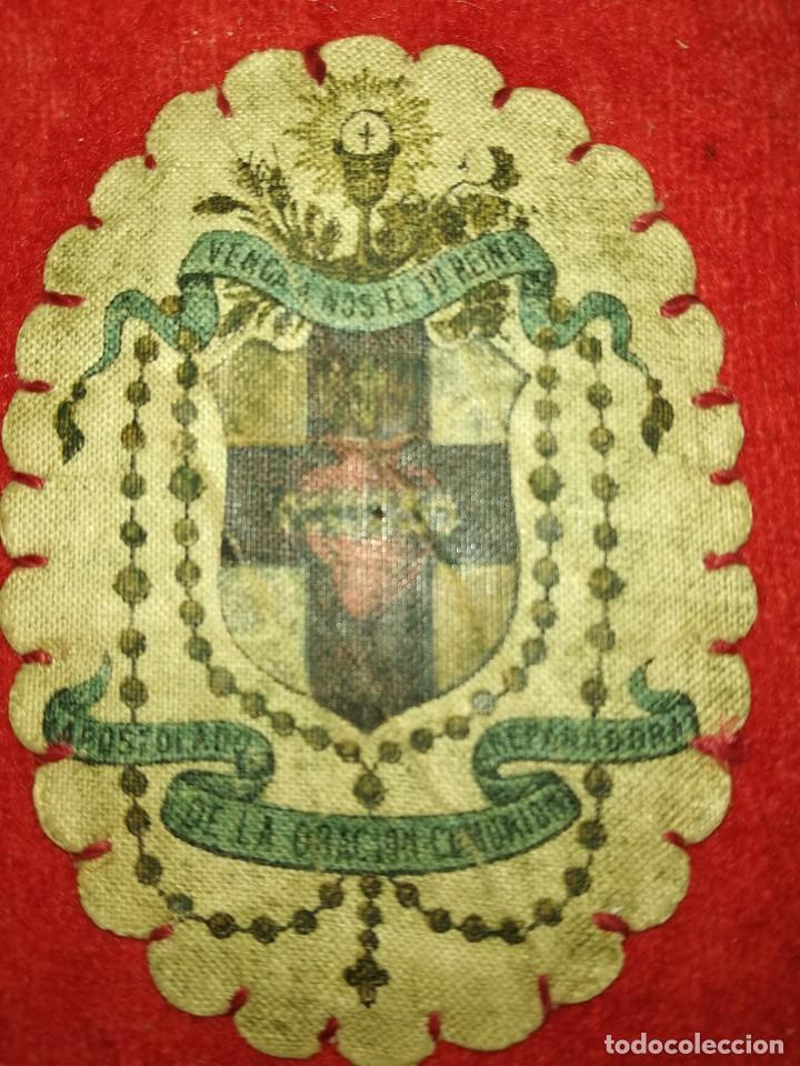 Antigüedades: Antiguo escapulario - año 1877 - Foto 3 - 109034843
