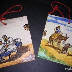 Antigüedades: PAREJA BALDOSAS AZULEJOS DE COLGAR, POLICROMADAS, ESCENAS DE DON QUIJOTE, ANTIGUAS S XX. Lote 109051263