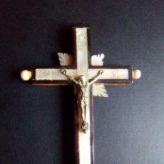 Antigüedades: ANTIGUO CRUCIFIJO MADERA OLIVO NACAR VIA CRUCIS. Lote 109087207