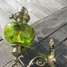 Antigüedades: PRECIOSA Y ANTIGUA LAMPARA MURAL QUINQUE DE PETROLEO MODERNISTA FRANCIA 1890 PRECIO: 197,00 €. Lote 109105427