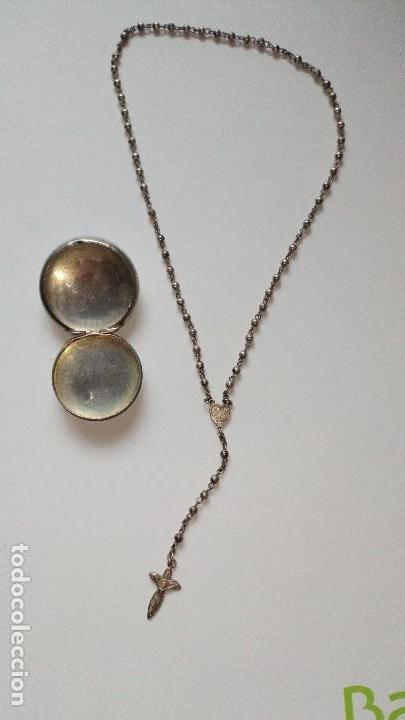 Antigüedades: Colgante con mini rosario de plata - Foto 2 - 109147299