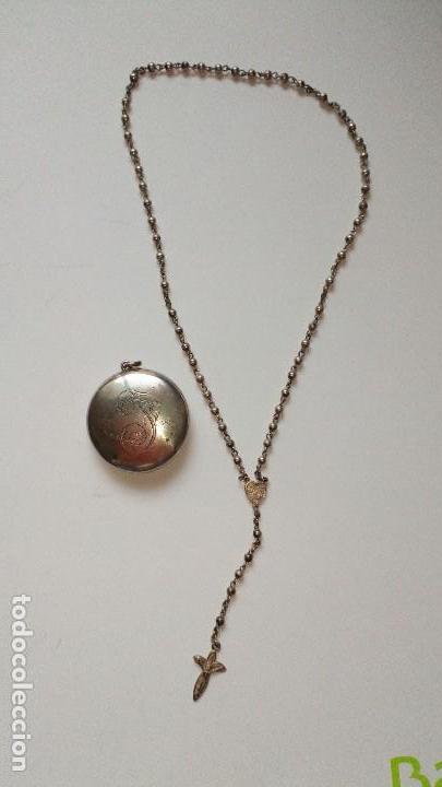 Antigüedades: Colgante con mini rosario de plata - Foto 8 - 109147299