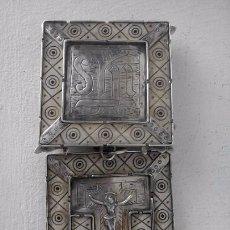 Antigüedades: RELICARIO DE PLATA Y HUESO, 9 CM. Lote 109186087