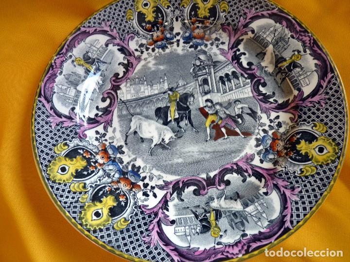 Antigüedades: EXCLUSIVO PLATO HOLANDÉS CERÁMICA TOROS SEVILLA - Foto 2 - 109238023
