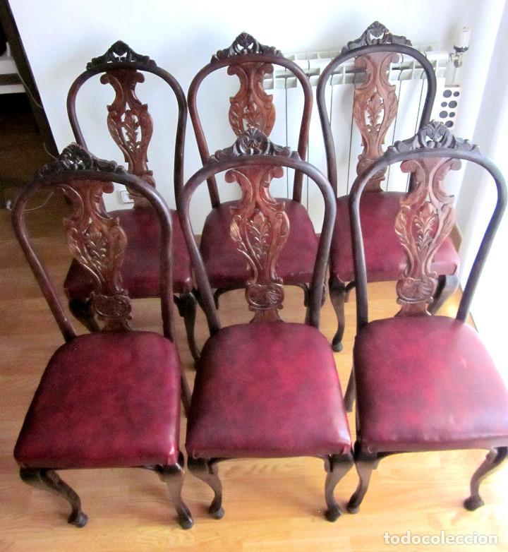 Excelentes 6 seis antiguas sillas comedor mader - Vendido en Venta ...