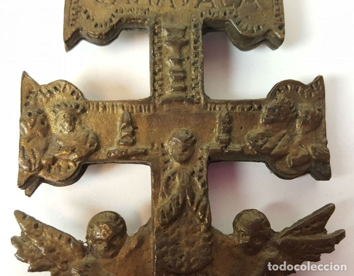Antigüedades: PAREJA DE CRUCES DE CARAVACA. BRONCE. SIGLO XIX-XX. - Foto 5 - 109254799