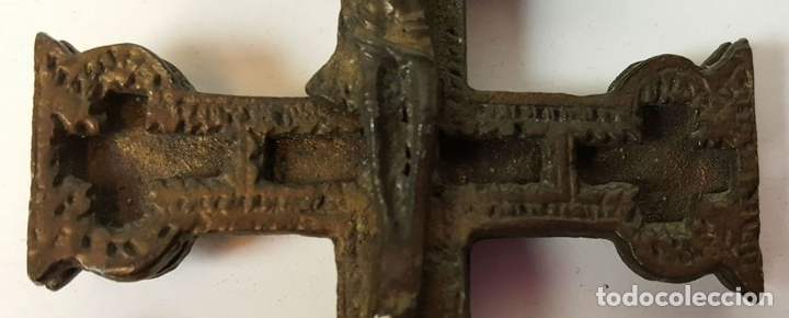 Antigüedades: PAREJA DE CRUCES DE CARAVACA. BRONCE. SIGLO XIX-XX. - Foto 7 - 109254799