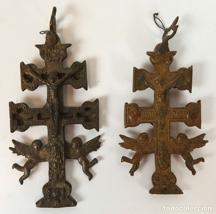 Antigüedades: PAREJA DE CRUCES DE CARAVACA. BRONCE. SIGLO XIX-XX. - Foto 8 - 109254799