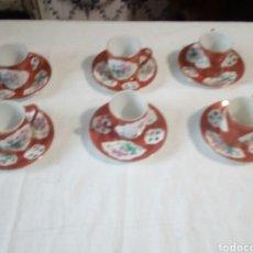Antigüedades: BONITO JUEGO DE CAFE DE CERÁMICA CON SELLO DEBAJO. Lote 109254998