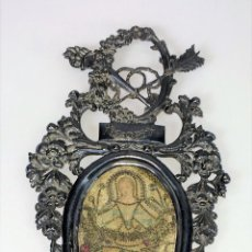 Antigüedades: BENDITERA. PLATA CINCELADA. OPALINA PINTADA. SEDA. ESPAÑA. SIGLO XIX. Lote 109267903