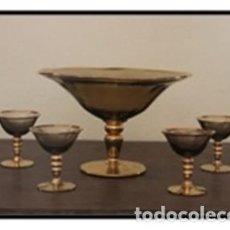 Antigüedades: JUEGO COCTEL CRISTAL AHUMADO AÑOS 50. Lote 109303871