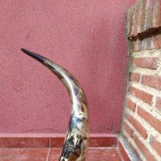 Antigüedades: CUERNO DE BÚFALO AFRICANO DECORADO A MANO - FIRMADO - SENEGAL - ANTIGUO. Lote 109307067