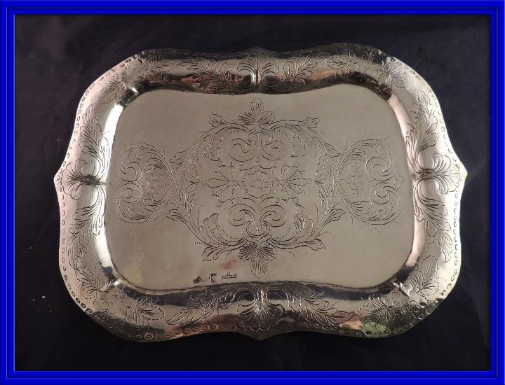 BANDEJA PLATA S. XIX CORDOBA PLATERO RAFAEL DE CORDOBA (Antigüedades - Platería - Plata de Ley Antigua)