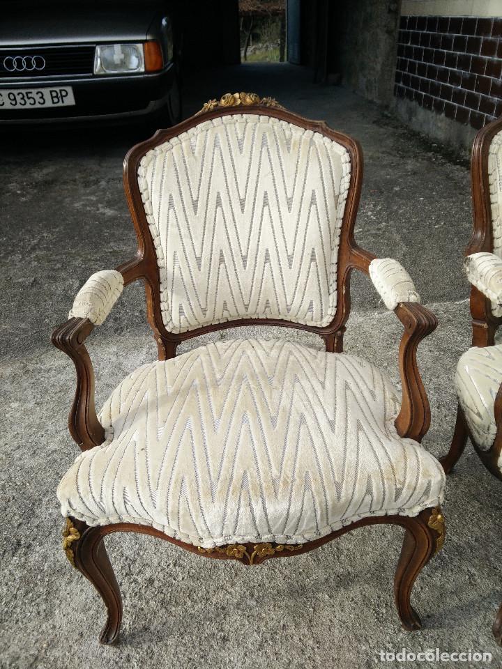 Antigüedades: Sillas de madera tapizadas con terciopelo - Foto 5 - 109335347