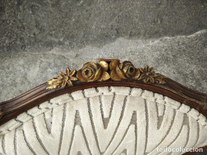 Antigüedades: Sillas de madera tapizadas con terciopelo - Foto 6 - 109335347