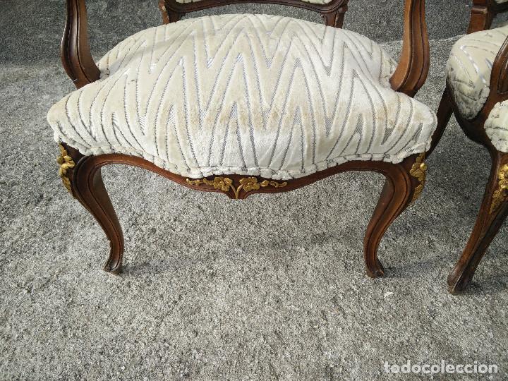Antigüedades: Sillas de madera tapizadas con terciopelo - Foto 7 - 109335347