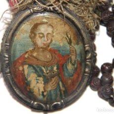 Antigüedades: RELICARIO SAN ISAÍAS. PINTADO A MANO SOBRE CRISTAL DE ROCA. PLATA. ESPAÑA. SS. XVII-XVIII. Lote 109356327