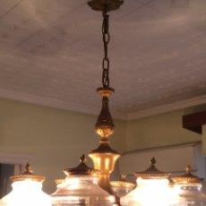 Antigüedades: ANTIGUA LAMPARA 8 BRAZOS DE BRONCE. Lote 109370722