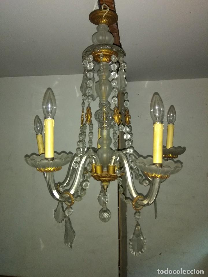 Antigua lampara ara a de techo de bronce y cris comprar l mparas antiguas en todocoleccion - Lamparas de arana segunda mano ...