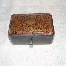 Antigüedades: CAJA MARQUETERIA METAL Y CONCHA DE TORTUGA. Lote 109397871