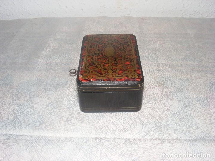 Antigüedades: CAJA MARQUETERIA METAL Y CONCHA DE TORTUGA - Foto 3 - 109397871