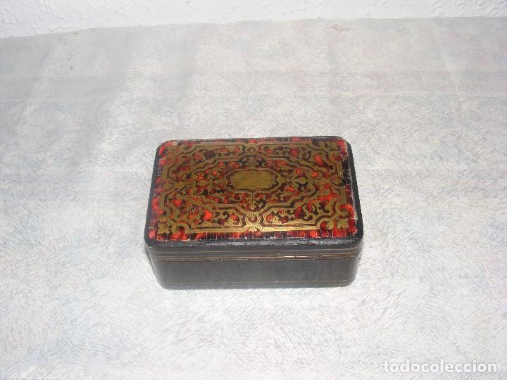 Antigüedades: CAJA MARQUETERIA METAL Y CONCHA DE TORTUGA - Foto 4 - 109397871