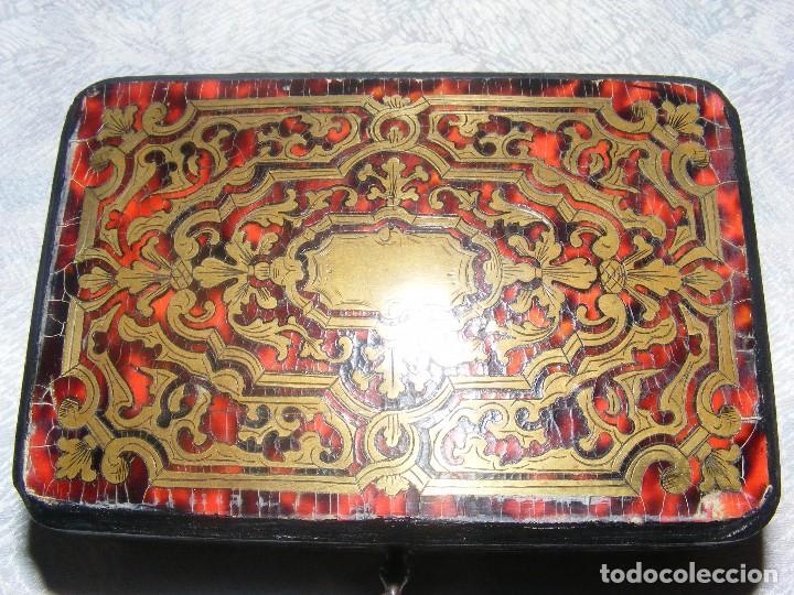 Antigüedades: CAJA MARQUETERIA METAL Y CONCHA DE TORTUGA - Foto 8 - 109397871