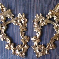 Antigüedades: PAREJA DE CORNUCOPIAS EN PAN DORADO. Lote 109401471