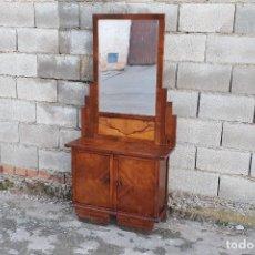 Antigüedades: TOCADOR ANTIGUO ART DECO MUEBLE AUXILIAR ANTIGUO CON ESPEJO MODERNISTA ART NOUVEAU ENTRADA RECIBIDOR. Lote 109412039