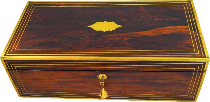 Antigüedades: Escritorio portatil inglés S.XIX de Palorosa y Latón - Foto 15 - 53181850