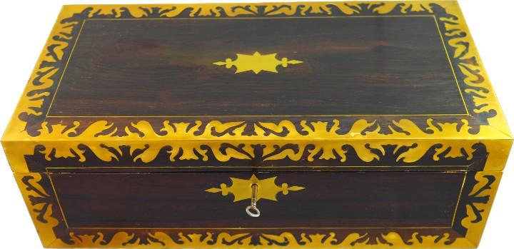 ESCRITORIO INGLES S.XIX DE PALOROSA Y LATÓN (Antigüedades - Muebles Antiguos - Escritorios Antiguos)