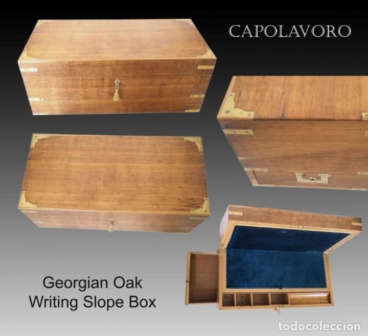 Antigüedades: Enorme Escribanía inglesa época Georgiana. Madera de roble. Circa 1810 - Foto 2 - 88741020