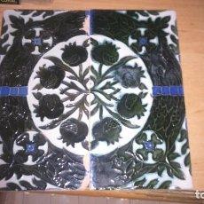 Antigüedades: PAREJA DE AZULEJOS ANTIGUOS MENSAQUE SEVILLA . Lote 109435387