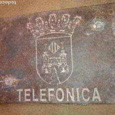 Antigüedades: ANTIGUA PLACA DE HIERRO TELEFONICA, ESCUDO BOCAIRENTE, BOCAIRENT. Lote 109462040