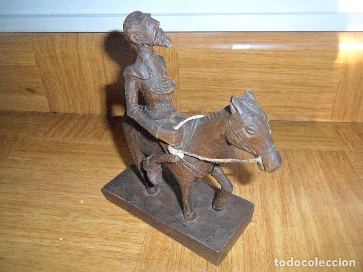 Antigüedades: DON QUIJOTE DE LA MANCHA - ESTATUA TALLA DE MADERA - LEER DESCRIPCION... - Foto 4 - 109467707