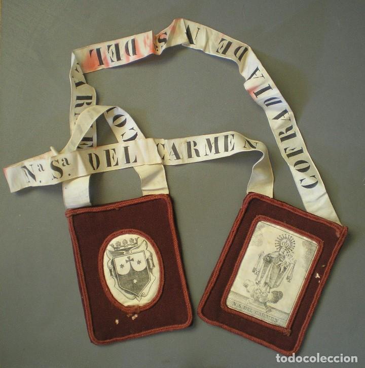 ANTIGUO ESCAPULARIO NUESTRA SEÑORA DEL CARMEN (Antigüedades - Religiosas - Escapularios Antiguos)