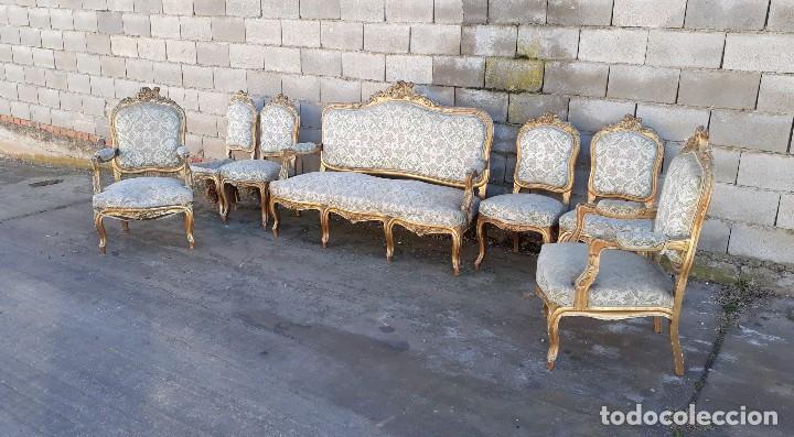 Antigüedades: Tresillo antiguo estilo Luis XV sofá antiguo + 2 sillones antiguos + 4 sillas antiguas retro vintage - Foto 2 - 109497279