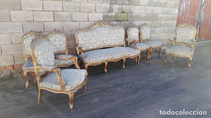 Antigüedades: Tresillo antiguo estilo Luis XV sofá antiguo + 2 sillones antiguos + 4 sillas antiguas retro vintage - Foto 3 - 109497279