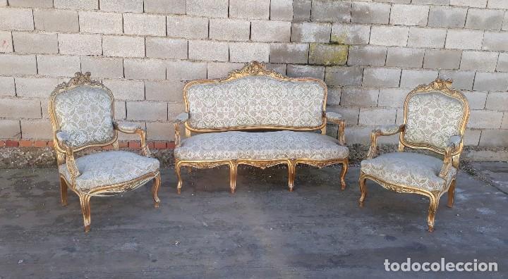 Antigüedades: Tresillo antiguo estilo Luis XV sofá antiguo + 2 sillones antiguos + 4 sillas antiguas retro vintage - Foto 4 - 109497279