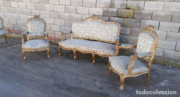 Antigüedades: Tresillo antiguo estilo Luis XV sofá antiguo + 2 sillones antiguos + 4 sillas antiguas retro vintage - Foto 5 - 109497279
