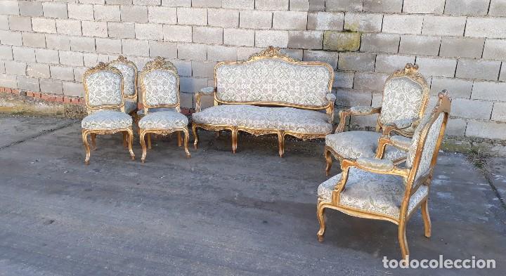 Antigüedades: Tresillo antiguo estilo Luis XV sofá antiguo + 2 sillones antiguos + 4 sillas antiguas retro vintage - Foto 6 - 109497279