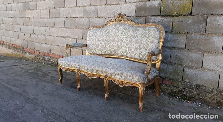 Antigüedades: Tresillo antiguo estilo Luis XV sofá antiguo + 2 sillones antiguos + 4 sillas antiguas retro vintage - Foto 8 - 109497279