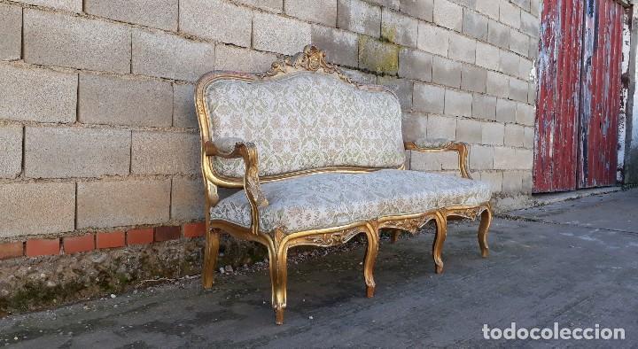 Antigüedades: Tresillo antiguo estilo Luis XV sofá antiguo + 2 sillones antiguos + 4 sillas antiguas retro vintage - Foto 9 - 109497279