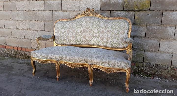 Antigüedades: Tresillo antiguo estilo Luis XV sofá antiguo + 2 sillones antiguos + 4 sillas antiguas retro vintage - Foto 10 - 109497279