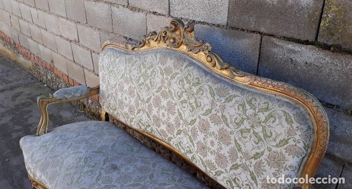 Antigüedades: Tresillo antiguo estilo Luis XV sofá antiguo + 2 sillones antiguos + 4 sillas antiguas retro vintage - Foto 12 - 109497279